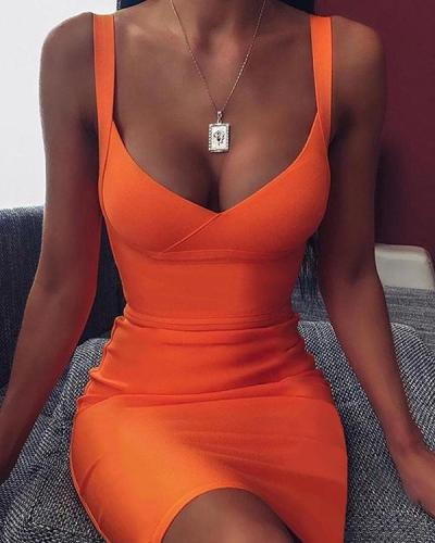 Plunge Neck Bodycon Mini Dress