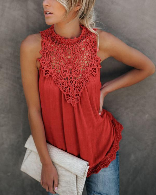 Fashion Lace Solid Sleeveless Crew Neck Blouses Tops