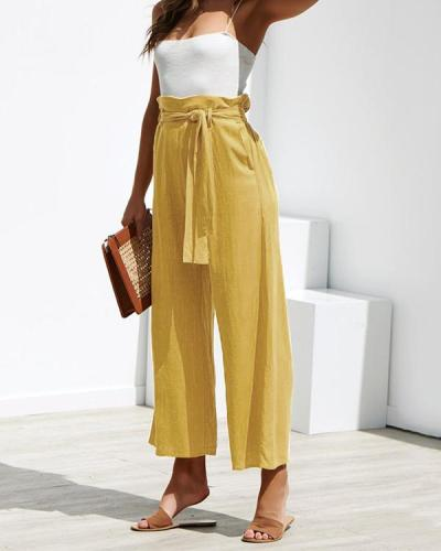 Fashion High Waist Plain Belted Wide Leg Pants