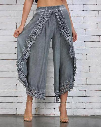 Lace Paneled Loose Cotton Pants
