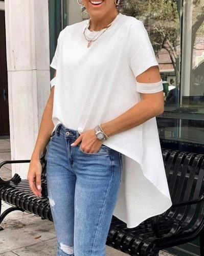 Cut Sleeve High-Low T-shirt