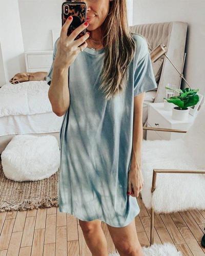 Tie-Dye Round Neck Short Sleeve Dress