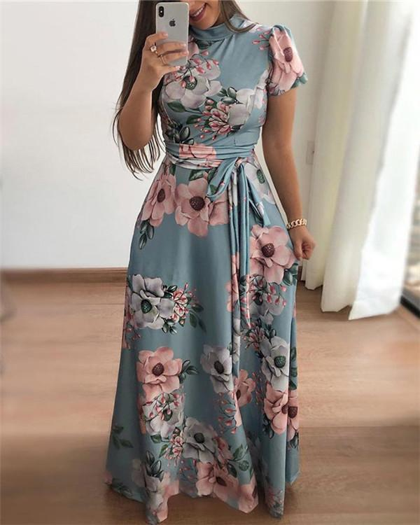 Floral Printed  Round Neck  Maxi Dress