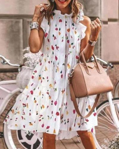 Floral-Print Lotus Leaf Sleeve Midi Dress