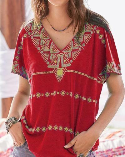 Printed Short Sleeved Casual V Neck T-Shirt Top