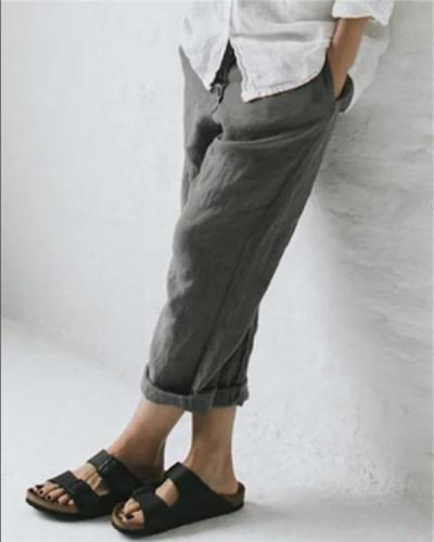Linen Solid Women Causal Plus Size Daily Ourdoor Pants