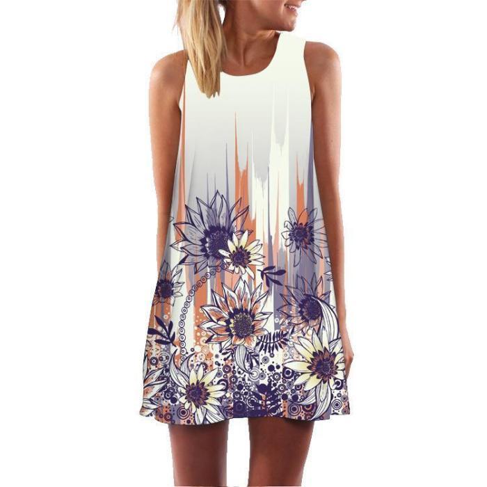 Floral Print Round Neck Sleeveless Dress