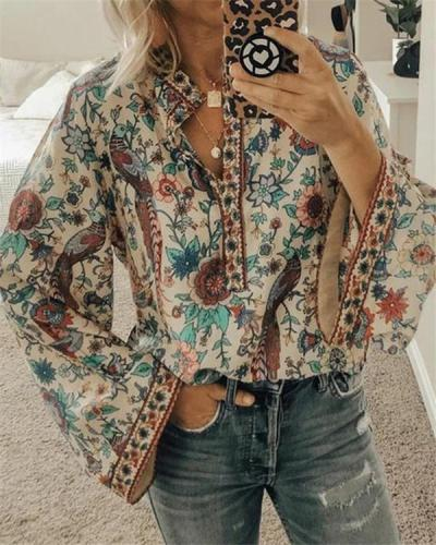 Peacock Printed Fall Loose Long Sleeve Daily Tops