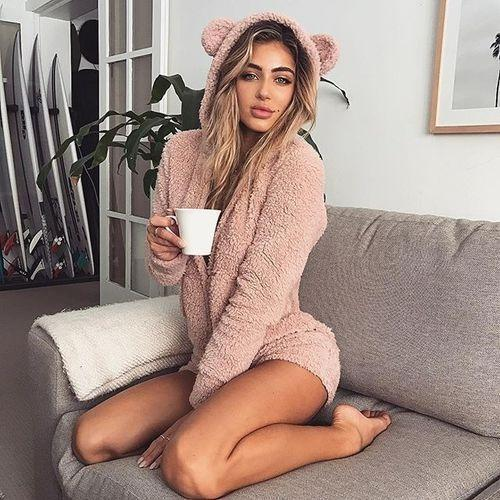 Plus Size Cute Rabbit Ears Warm Pajamas Rompers Hoodie Sleepwear