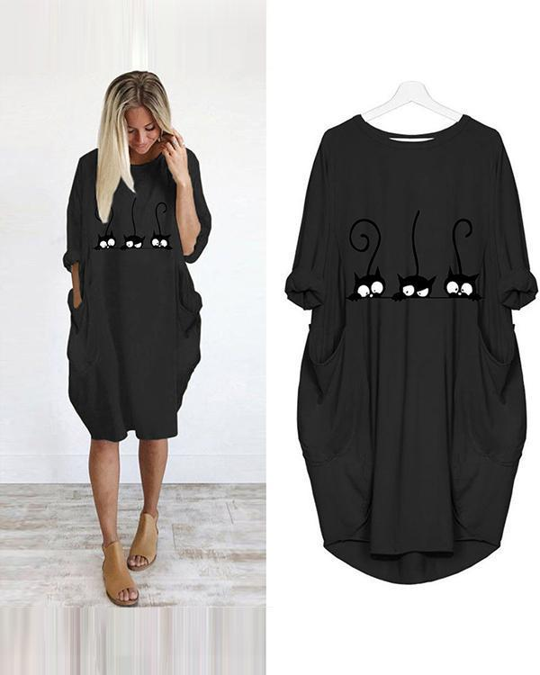 Casual Loose Irregular Pockets Dress
