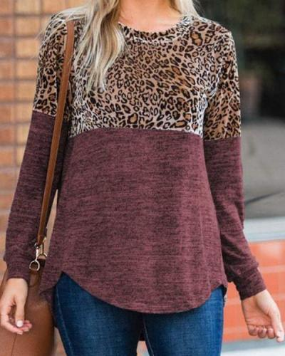 Leopard Print Casual Women's T-Shirts