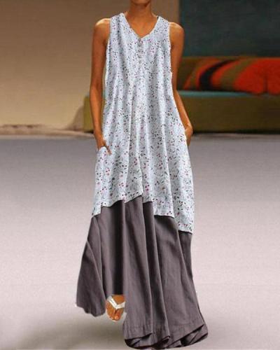 Plus Size Fashion Printed Two-Piece Sleeveless Dresses