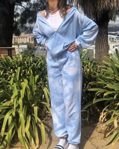 Blue Tie Dye Zip-Up Pockets Long Sleeve Two Piece Set
