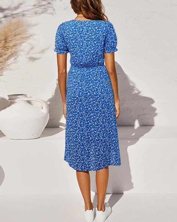 Fashion Floral Split High-Slim Short-Sleeve Dress