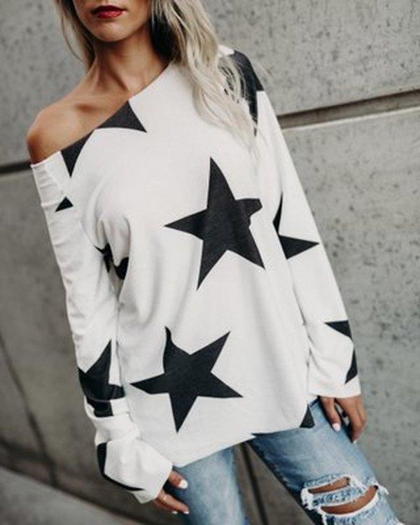 Fashion Stars Cotton Shirt Women Casual T-shirt Plus Size Tops