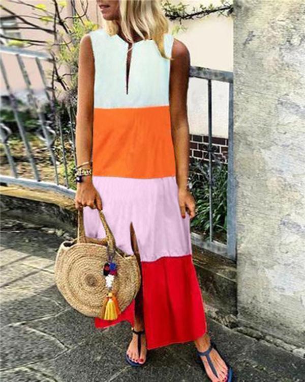 Fashion Printing Sleeveless V Neck Casual Dresses