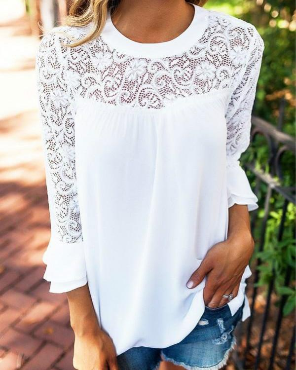 Lace Details Round Neck Long Sleeves Chiffon Top