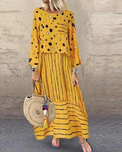 Fashion Loose Large Size Polka Dot Fake Two Pieces Dress