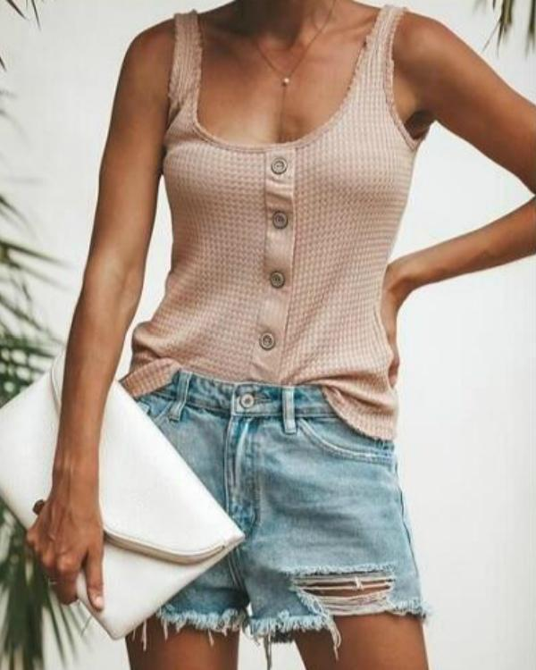 Fashion Halter Sleeveless Button Vest Tops