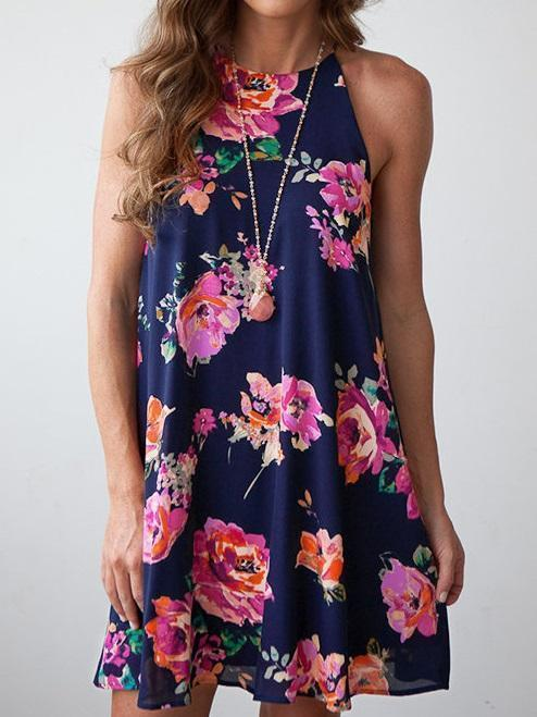 Random Floral Print Halter Neck Casual Dress