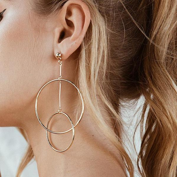 Jewelry-Metal Big Round Earrings