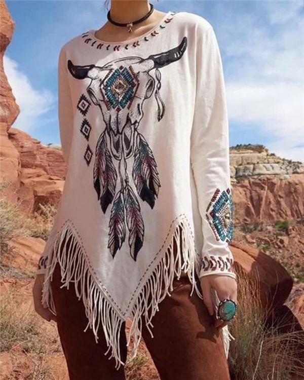 Emboridery Printed Tassels Hem Design Casual Round Neck Shirts & Tops
