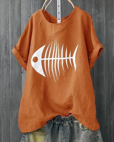 Casual Short Sleeve Crew Neck Fish Bone Printed T-Shirts Tops