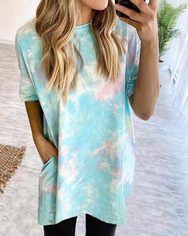 Fashion Round Neck Tie-dye Women Long Shirt