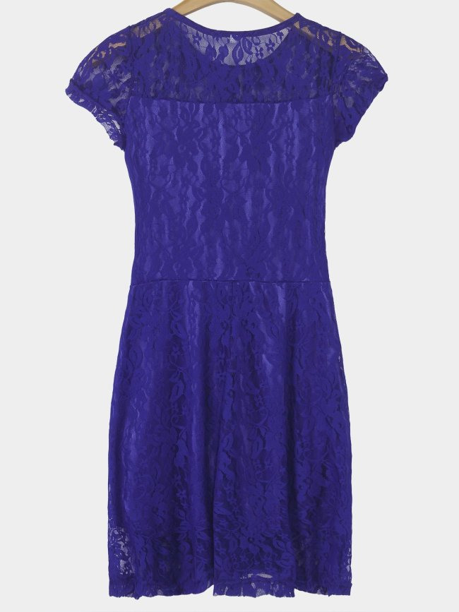Lace Details Round Neck Short Sleeves Mini Dresses with Lined