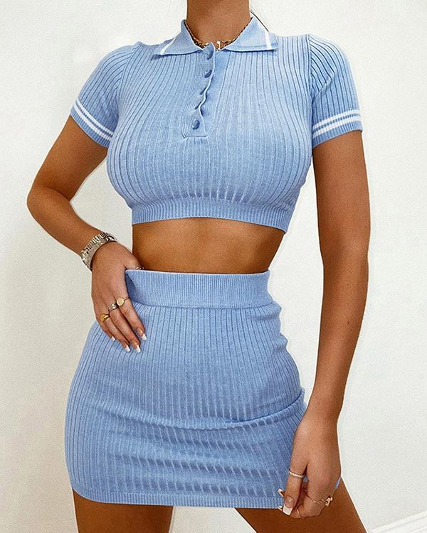 Casual Pullover Knitted Turndown Collar Shirt&Hip Skirt Sets