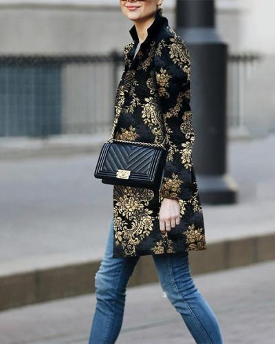 Elegant Floral Printed Long Sleeve Fashionable Outwear Coat