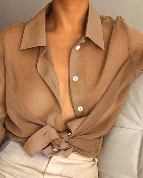 Lapel Sexy Solid Color Long Sleeve Transparent Shirt
