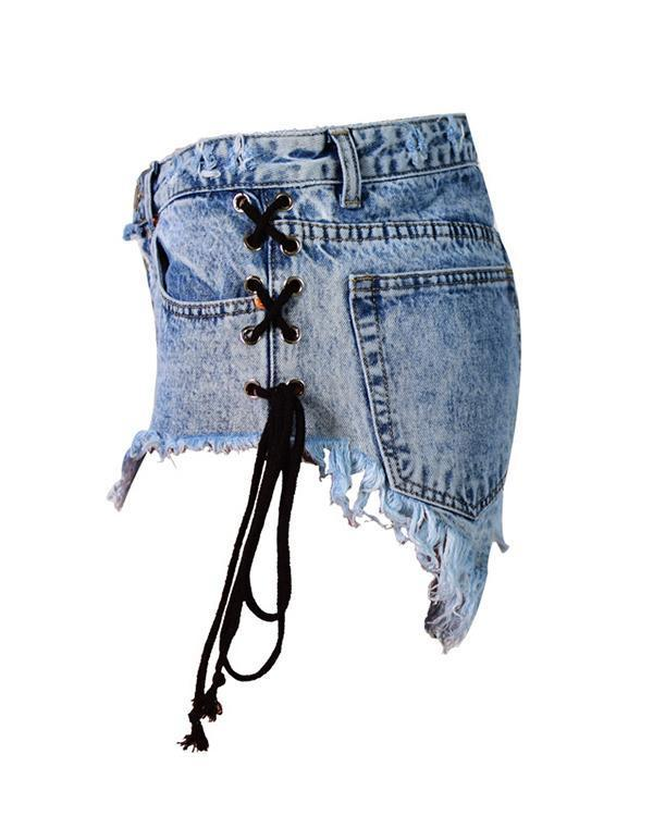 Bandage Tassel Design Washed Denim Shorts Pants