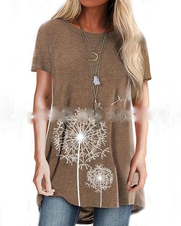 Casual Printed Blouse Short Sleeves Loose Top