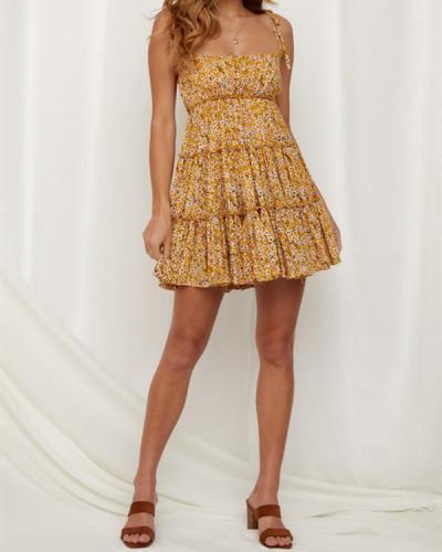 Casual Round Neck Print Sleeveless Ruffle mini Dress