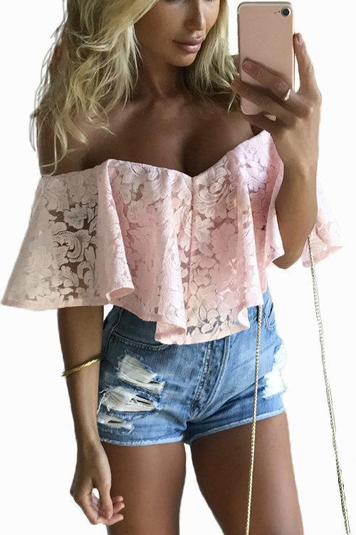 Off-The-Shoulder Frill Overlay Lace Bodysuit Tops