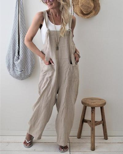 Casual Pure Color With Pockets Jumpsuits
