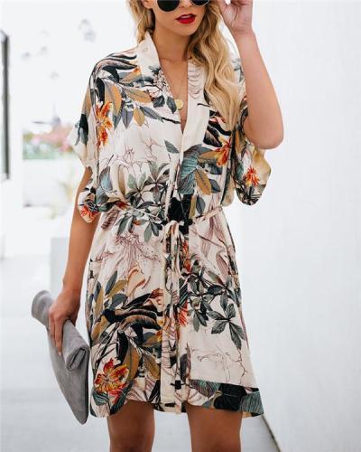 Bohemian Fashion Printed Half Sleeve Mini Dress