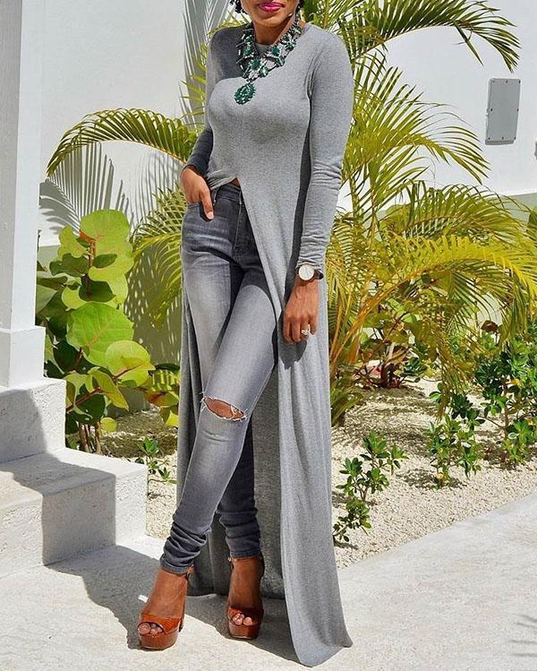 Fashion High Split Solid Color Long Sleeve T-Shirt  Dress
