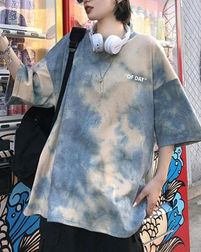 Fashion Round Neck Tie-dye Short-sleeved T-shirt