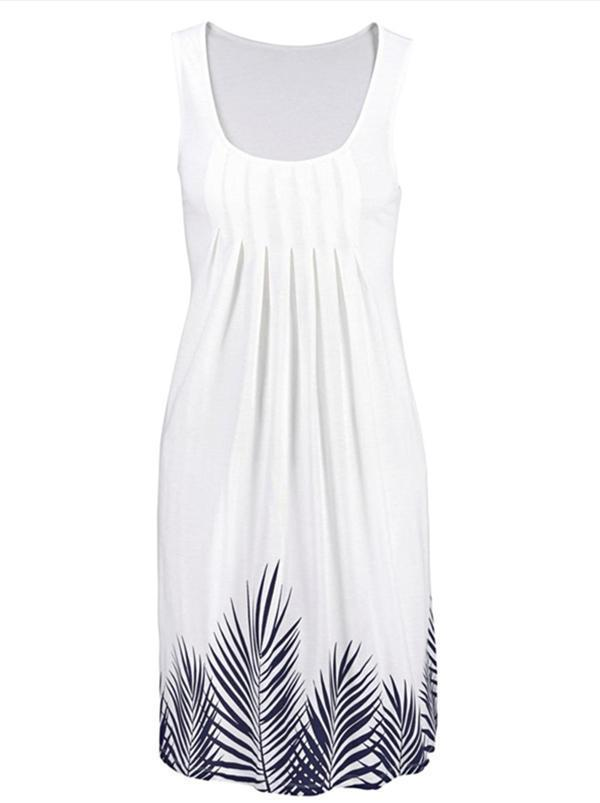 Crew Neck Women Summer Sleeveless A-Line Dresses