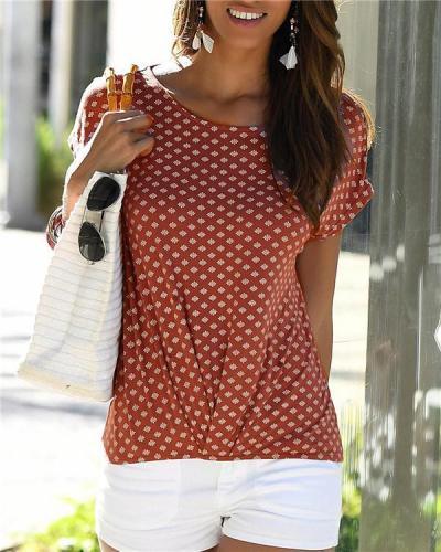 Printed Short Sleeve Stylish Summer Women Shirt Tops