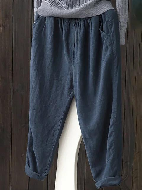 Linen Casual Solid Natural Pants