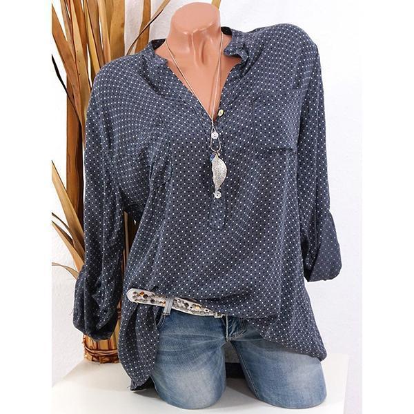 Casual Polka Dot V-neck Long Sleeve Shirt