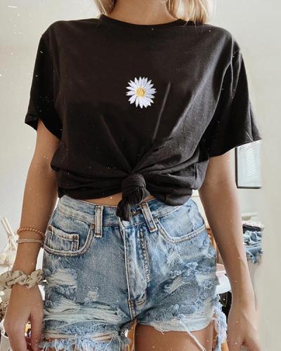 Round Neck Loose Wild Daisy Print T-shirt
