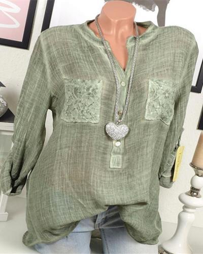 Women Casual Lace Patchwork Long Sleeve V-Neck Plus Size Blouses