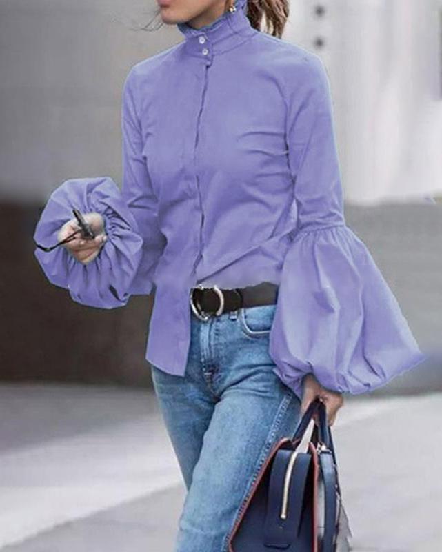 Lantern Sleeve Solid Fall Women Casual Printed Shirt &Tops