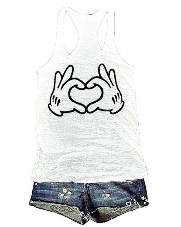 Printing Love Heart Sleeveless Round Neck T-shirt