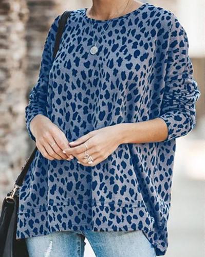 Crew Neck Leopard Print Cotton-Blend Shirts & Tops