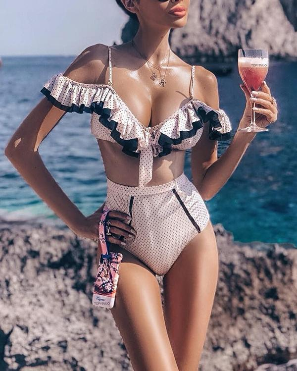 Cute Dot Print Ruffle Lace Highwaist Two Pieces Bikini